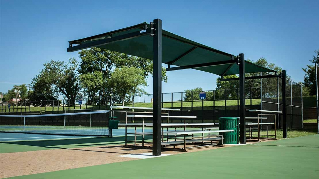 cantilever shade at okc tennis center